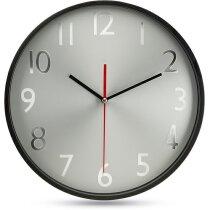 Reloj de pared con esfera plateada negra personalizado