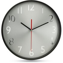 Reloj  de pared con esfera plateada personalizada negra