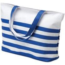 Bolsa con rayas marineras para la playa azul