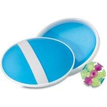 Juego de raquetas con bola de ventosa personalizado azul