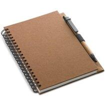 Libreta reciclada A5 con bolígrafo personalizada marron
