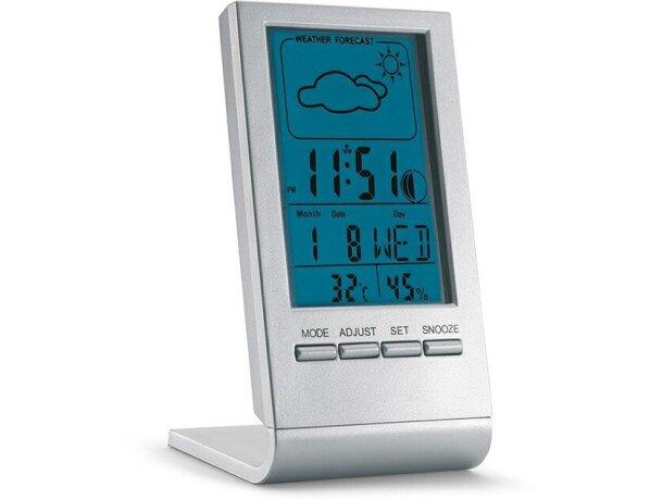 Estación meteorológica con fecha y hora personalizada plateado