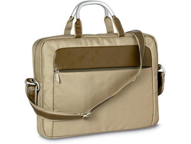 Bolsa para portátil con asas de metal grabado beige