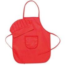Set infantil de gorro y delantal rojo personalizado