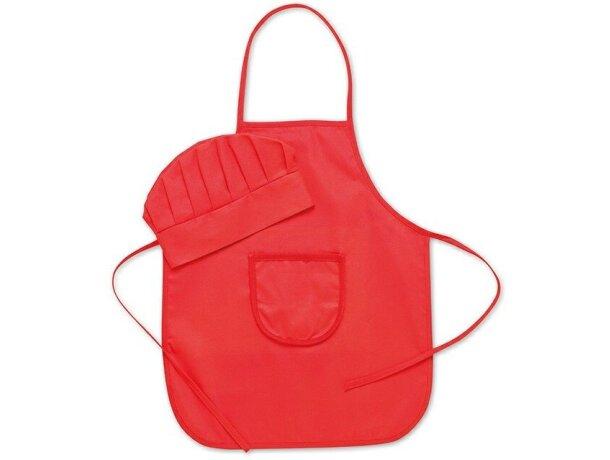 Set infantil de gorro y delantal personalizado rojo