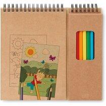 Set de cuaderno y lápices personalizado beige