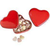 Caja forma de corazón con   caramelos roja