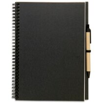 Libreta de cartón reciclado A4 con bolígrafo negra personalizado