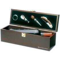 Set de vino 4 piezas con caja botellero personalizado madera