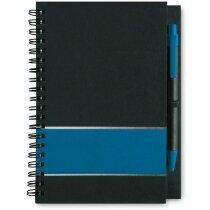Libreta de cartón con papel a rayas personalizada azul