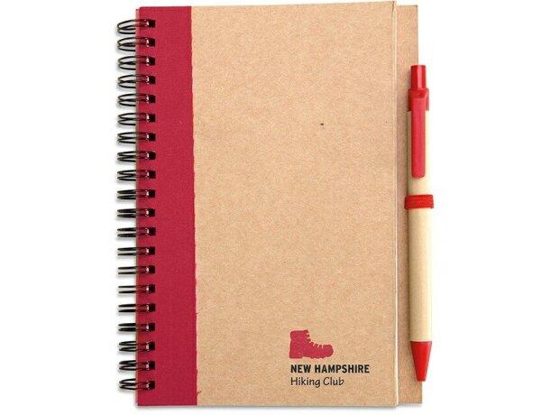 Libreta con bolígrafo en cartón reciclado personalizado