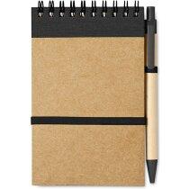 Bloc de notas con bolígrafo mini en cartón reciclado personalizada negra