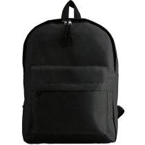 Mochila lisa con bolsillo exterior grabada negra