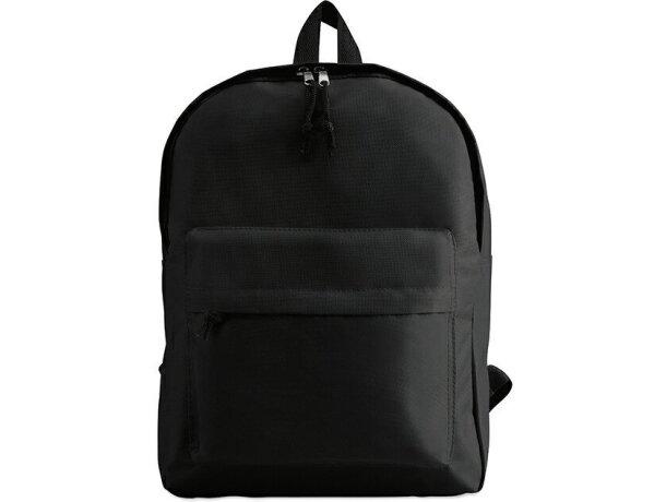 Mochila lisa con bolsillo exterior negra