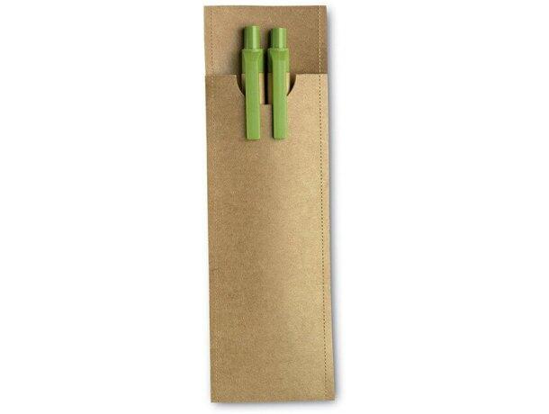 Set de lápiz y bolígrafo en cartón personalizado verde lima