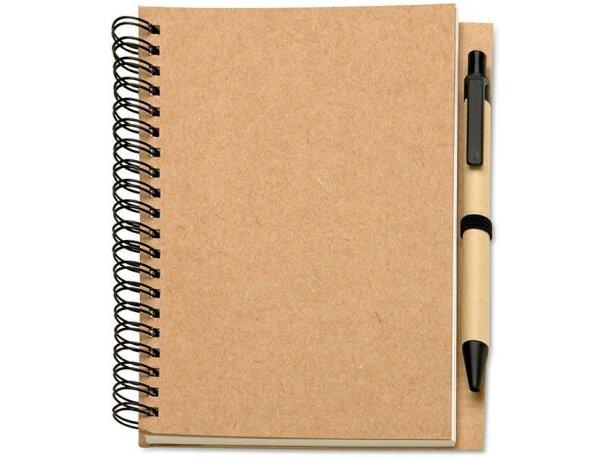 Libreta con bolígrafo y tapas en cartón reciclado con logo