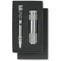Set de linterna y bolígrafo personalizado titanio