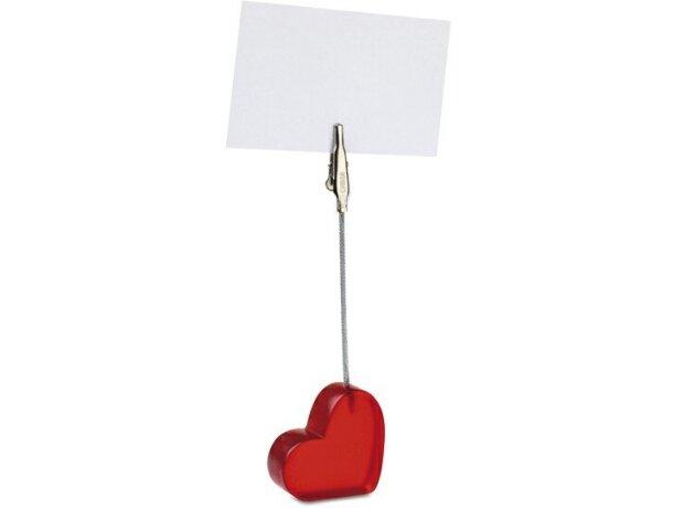 Clip para notas con base corazón personalizada roja