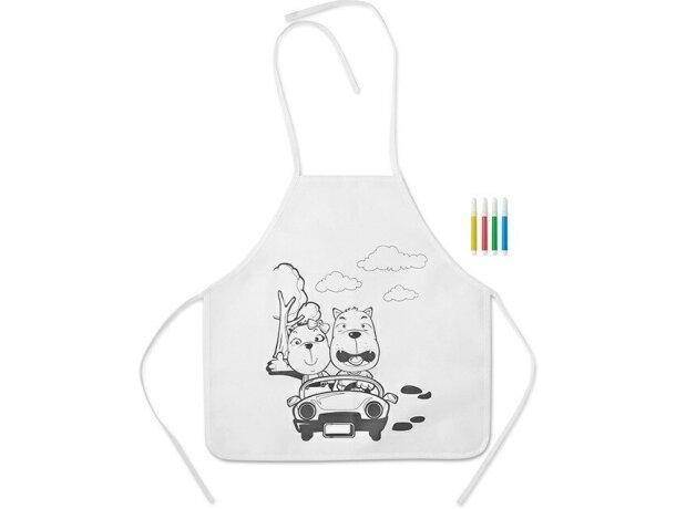 delantal para colorear de niños personalizado blanco