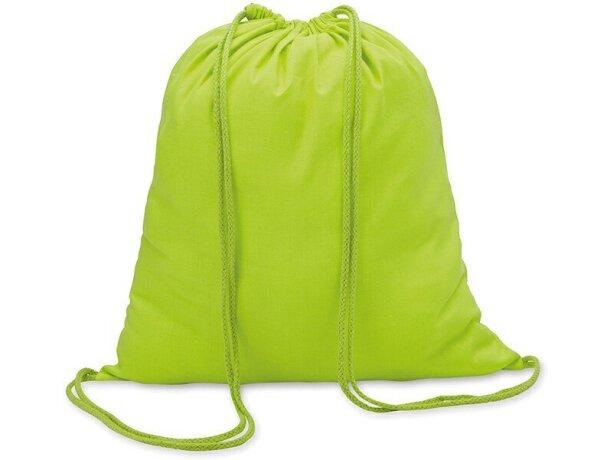 Mochila saco algodón 100gr personalizada verde lima