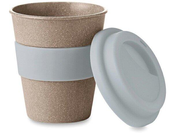 Taza de bambú con tapa de silicona con logo