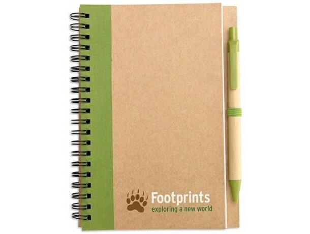 Libreta con bolígrafo en cartón reciclado personalizada