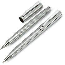 conjunto de bolígrafo y roller personalizado plateado brillante