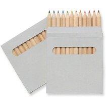 Estuche de cartón con 12 lápices grabado marron