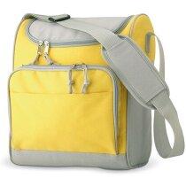 Mochila nevera con bolsillo delantero personalizada amarilla