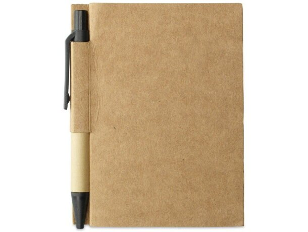 Cuaderno reciclado con bolígrafo a juego barato negro