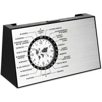 Reloj de sobremesa giratorio de metal personalizado plateado mate