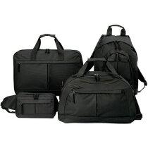 Set de bolsa, mochila, maletín y neceser de viaje personalizado negro