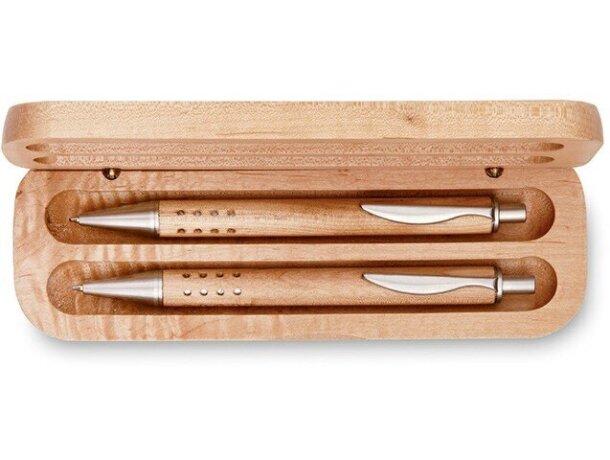 Estuche de bolígrafo y lápiz en madera personalizado