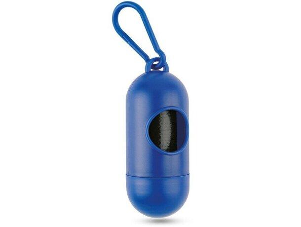 contenedor de bolsas para mascotas con mosquetón personalizada azul