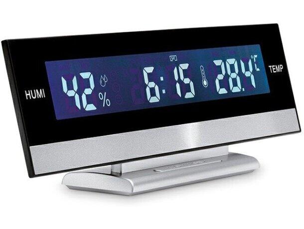 Estación meteorológica de sobremesa digital barata plateado mate