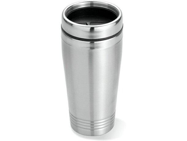 Vaso de acero térmico con doble pared plateado mate