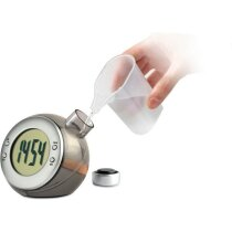 Reloj de sobremesa de agua plateado mate