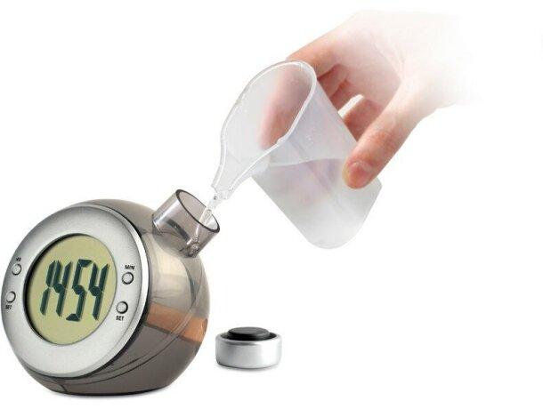 Reloj de sobremesa de agua barato plateado mate