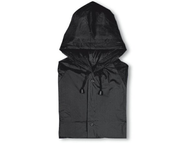 Impermeable de plástico con funda negro merchandising