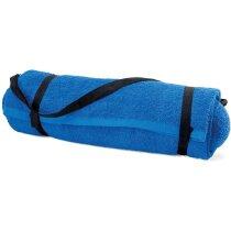 Toalla playa con almohada azul real