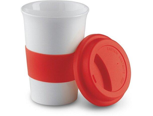 Taza de cerámica con tapa y banda de silicona personalizado