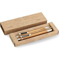 conjunto de bolígrafo y lápiz ecológico personalizado madera