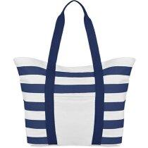 Bolso de playa con rayas grabada azul