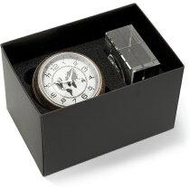 Reloj de sobre con base de cristal personalizado