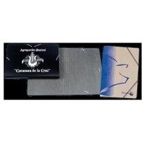 Carpeta pequeña de cartón con cierre de gomas personalizada