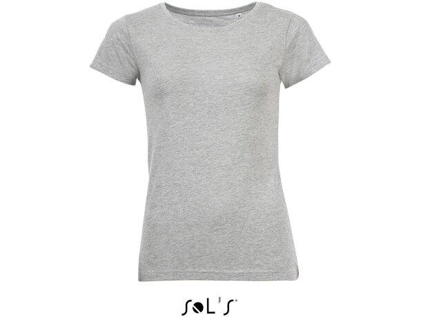 Camiseta de mujer tejido mxto Sols personalizada gris