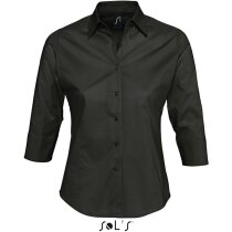 Camisa de mujer manga 3/4 tejido mixto Sols negra