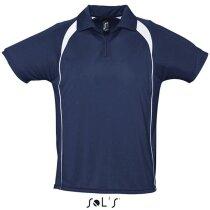 Polo tejido técnico manga corta Sols 135 gr Sols personalizado azul