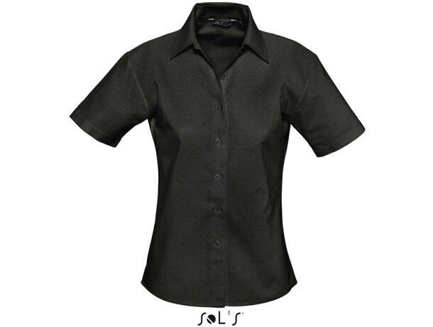 Camisa de mujer entallada estilo Oxford Sols personalizada negra