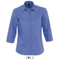 Camisa de mujer tejido popelin Sols personalizada azul